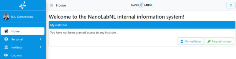 Screenshot of the Nanolab information System (NiS)