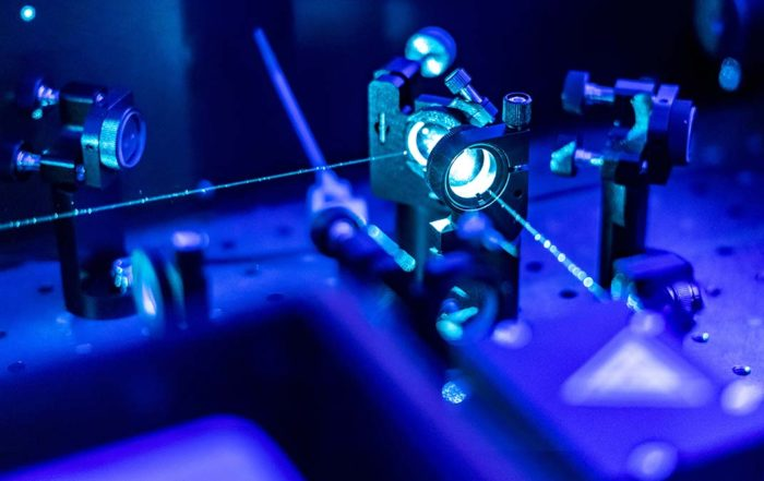 Experimental setup with lasers in a laboratory